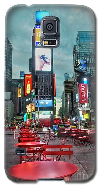Galaxy S5 Case featuring the digital art Times Square Tables by Timothy Lowry