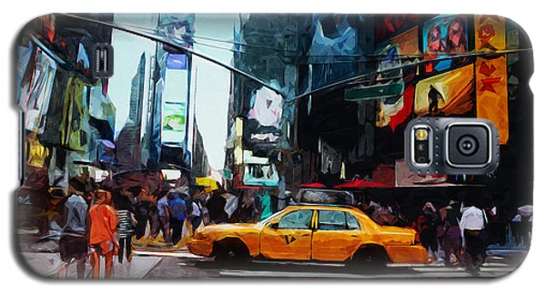 Times Square Taxi- Art By Linda Woods Galaxy S5 Case by Linda Woods