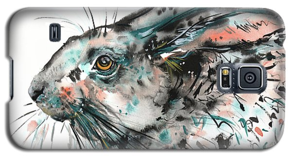 Galaxy S5 Case featuring the painting Timid Hare by Zaira Dzhaubaeva