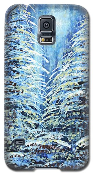 Galaxy S5 Case featuring the painting Tim's Winter Forest by Holly Carmichael
