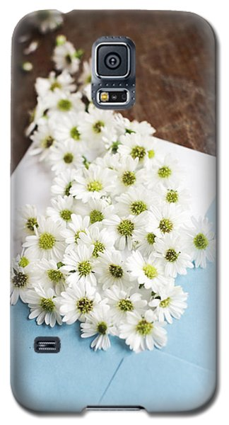 Tiny Daisies Spilling From Blue Envelope Galaxy S5 Case