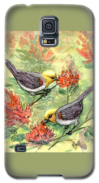 Galaxy S5 Case featuring the painting Tiny Verdin In Honeysuckle by Marilyn Smith