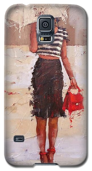Galaxy S5 Case featuring the painting Tip Toe by Laura Lee Zanghetti