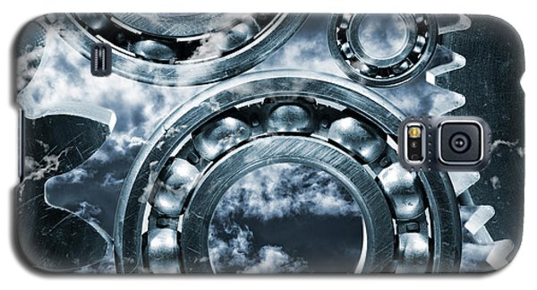 Galaxy S5 Case featuring the photograph Titanium Gears Against Storm Clouds by Christian Lagereek