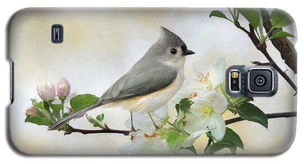 Galaxy S5 Case featuring the mixed media Titmouse In Blossoms 1 by Lori Deiter
