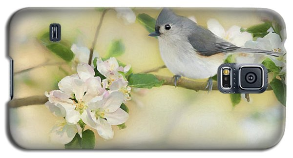 Galaxy S5 Case featuring the mixed media Titmouse In Blossoms 2 by Lori Deiter