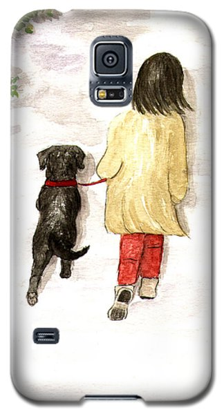 Together - Black Labrador And Woman Walking Galaxy S5 Case