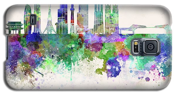 Tokyo V3 Skyline In Watercolor Background Galaxy S5 Case