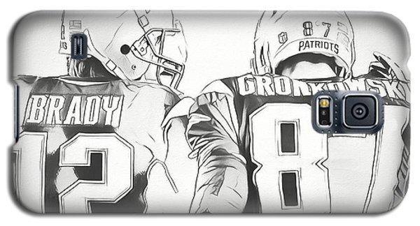 Galaxy S5 Case featuring the drawing Tom Brady Rob Gronkowski Sketch by Dan Sproul