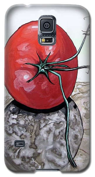 Galaxy S5 Case featuring the painting Tomato On Marble by Mary Ellen Frazee