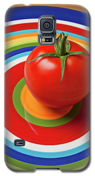 Tomato On Plate With Circles Galaxy S5 Case by Garry Gay