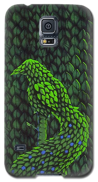 Galaxy S5 Case featuring the drawing Topiary Peacock by Donna Huntriss