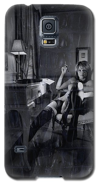 Galaxy S5 Case featuring the photograph Topless Girl Posing At Desk In Hotel Room by Michael Edwards