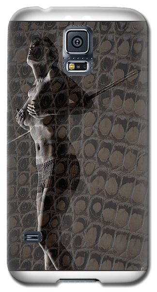 Galaxy S5 Case featuring the photograph Topless Girl With African Spear by Michael Edwards