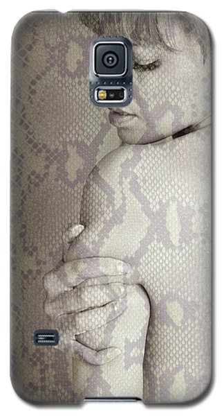 Galaxy S5 Case featuring the photograph Topless Woman Holding Her Arm by Michael Edwards