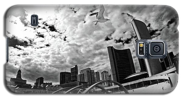 Galaxy S5 Case featuring the photograph Toronto City Hall Square With Gull by Charline Xia