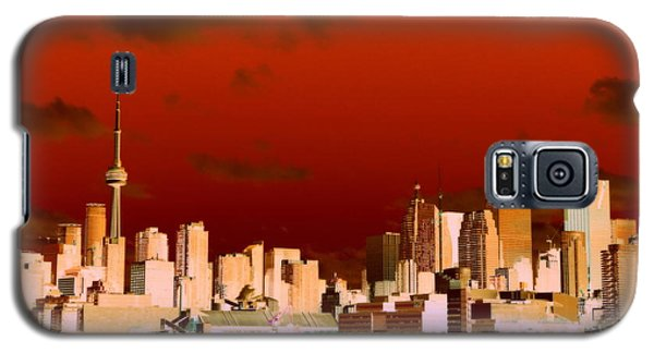 Galaxy S5 Case featuring the photograph Toronto Red Skyline by Valentino Visentini