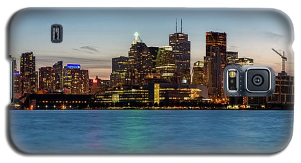 Galaxy S5 Case featuring the photograph Toronto Skyline At Dusk Panoramic by Adam Romanowicz