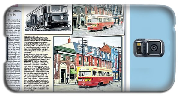 Galaxy S5 Case featuring the painting Toronto Sun Article Streetcars Brush With Fame by Kenneth M Kirsch