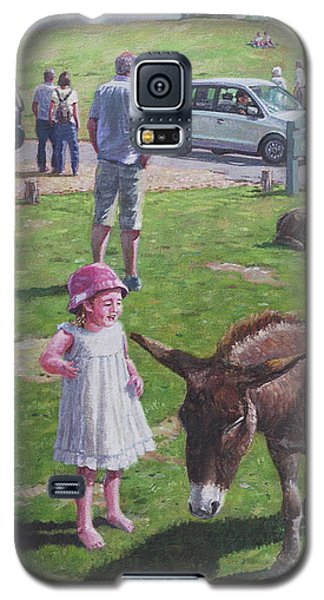 Galaxy S5 Case featuring the painting Tourists At Boltons Bench New Forest  by Martin Davey
