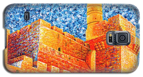 Galaxy S5 Case featuring the painting Tower Of David At Night Jerusalem Original Palette Knife Painting by Georgeta Blanaru