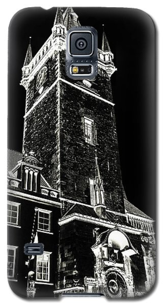 Galaxy S5 Case featuring the photograph Tower Of Old Town Hall In Prague. Black by Jenny Rainbow