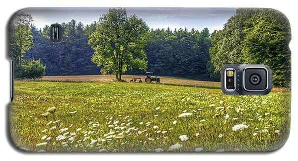Tractor In Field With Flowers Galaxy S5 Case