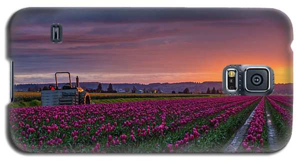 Galaxy S5 Case featuring the photograph Tractor Waits For Morning by Mike Reid