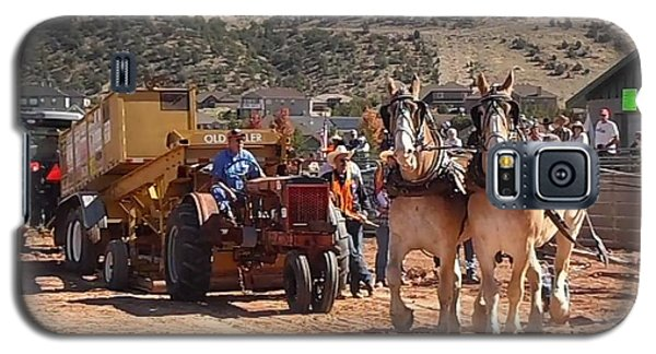 Galaxy S5 Case featuring the photograph Tractors And Draft Horses Pulling by Deborah Moen