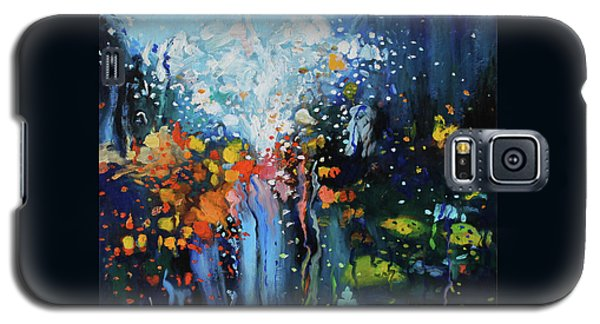 Galaxy S5 Case featuring the painting Traffic Seen Through A Rainy Windshield by Dan Haraga