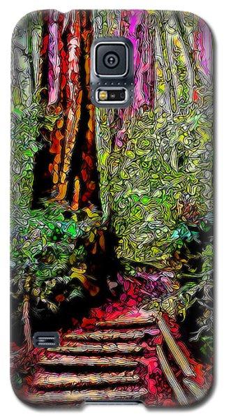 Galaxy S5 Case featuring the digital art Trail Through The Redwoods - Tamalpais California by Joel Bruce Wallach
