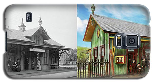Galaxy S5 Case featuring the photograph Train Station - Garrison Train Station 1880 - Side By Side by Mike Savad