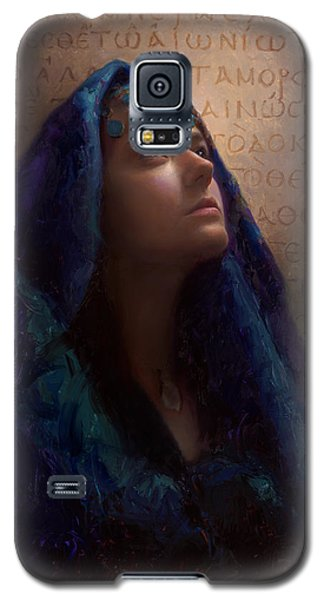 Galaxy S5 Case featuring the painting Transformation - Woman With Romans 12 2 Written In Original Greek  by Karen Whitworth