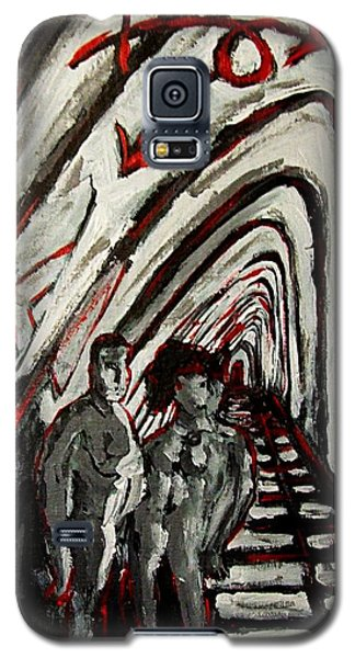 Galaxy S5 Case featuring the painting Transgender Entity Nude In Modern Hallway With Arches And Gender Symbols Of Trans Changes Struggle by MendyZ M Zimmerman
