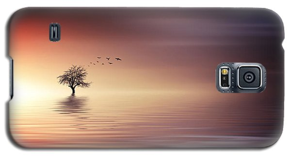Tree And Birds On Lake Sunset Galaxy S5 Case