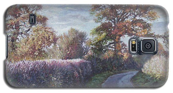 Galaxy S5 Case featuring the painting Tree Lined Countryside Road by Martin Davey