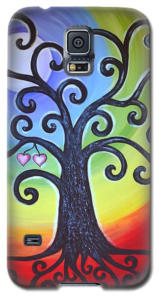 Galaxy S5 Case featuring the painting Tree Of Life Love And Togetherness by Agata Lindquist