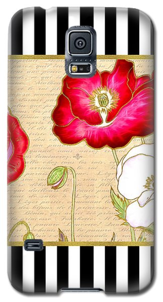Galaxy S5 Case featuring the digital art Trendy Red Poppy Floral Black And White Stripes by Tracie Kaska