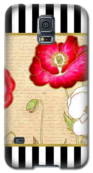 Trendy Red Poppy Floral Black And White Stripes Galaxy S5 Case by Tracie Kaska