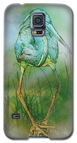Tri-colored Heron Balancing Act - Colorized Galaxy S5 Case
