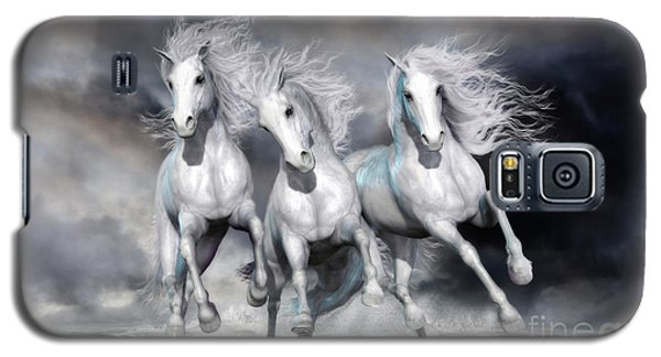 Galaxy S5 Case featuring the digital art Trinity Galloping Horses Blue by Shanina Conway