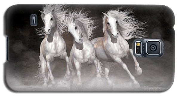Galaxy S5 Case featuring the digital art Trinity Horses Neutrals by Shanina Conway