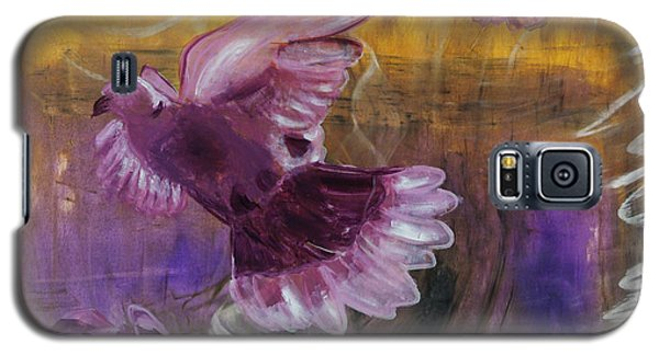 Galaxy S5 Case featuring the painting Trinity Of Contemporary Flying Dove Birds In Yellow Purple And Blue by MendyZ M Zimmerman