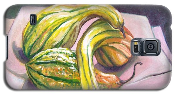 Galaxy S5 Case featuring the painting Gourd Grouping by Laura Aceto
