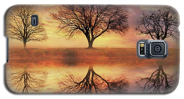 Galaxy S5 Case featuring the mixed media Trio Of Trees by Lori Deiter