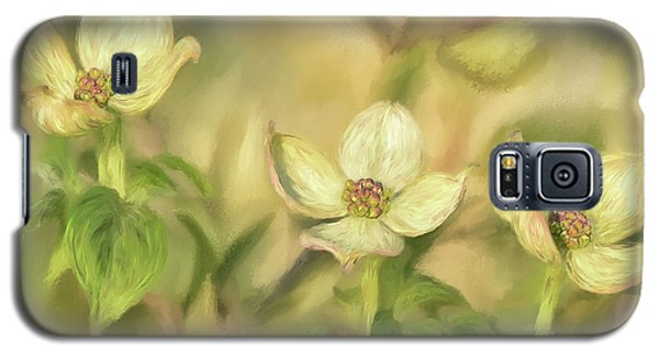Galaxy S5 Case featuring the digital art Triple Dogwood Blossoms In Evening Light by Lois Bryan