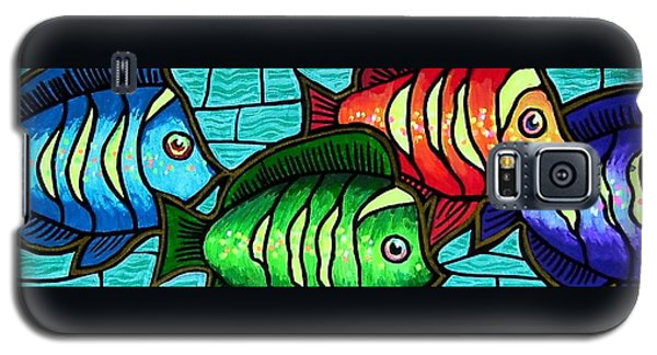 Galaxy S5 Case featuring the painting Tropic Swim by Jim Harris