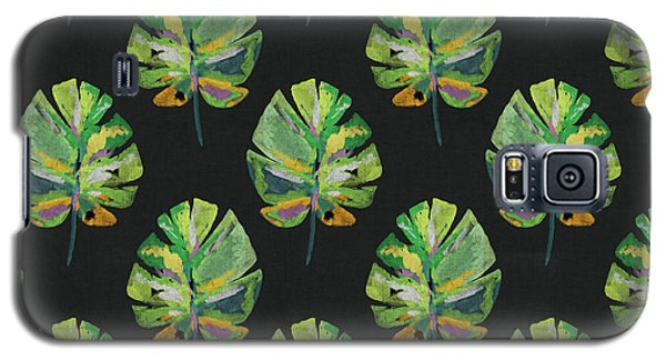 Galaxy S5 Case featuring the mixed media Tropical Leaves On Black- Art By Linda Woods by Linda Woods