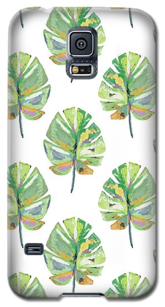 Galaxy S5 Case featuring the mixed media Tropical Leaves On White- Art By Linda Woods by Linda Woods