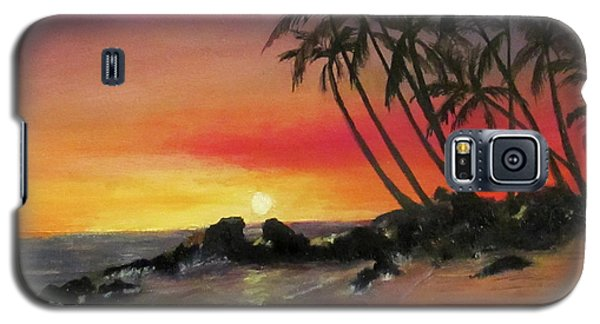 Galaxy S5 Case featuring the painting Tropical Sunset by Roseann Gilmore